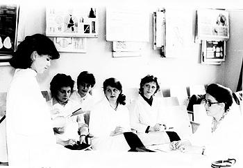 1984 г. Заседание СНК проводит кандидат медицинских наук. Ассистент Хруцкая Маргарита Сергеевна. С докладом выступает член СНК с 1983 г.Чен Е.Н.