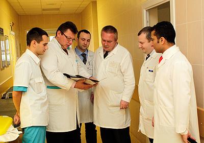 Обсуждение истории болезни пациента совместно с кафедрой неотложной хирургии БелМАПО