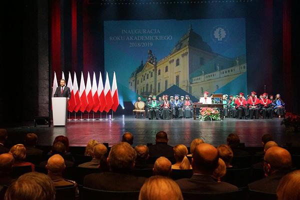 Торжественная инаугурация нового академического года 2018/2019  в Медицинском университете Белостока. Выступает Министр здравоохранения Республики Польша Лукаш Шумовски.